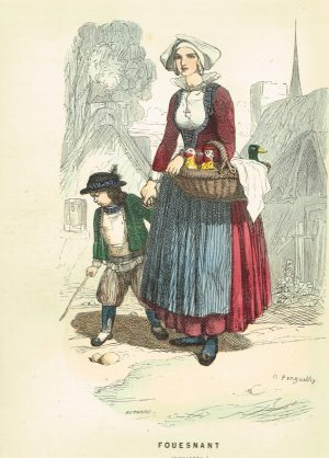 Old antique Costume Print Fouesnant Finistere Brittany France c1859