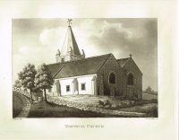 Old Antique Print Torteval Church Guernsey Channel Isles c.1815
