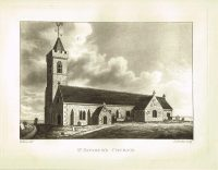 Old Antique Print St Saviours Church Guernsey Channel Isles c.1815