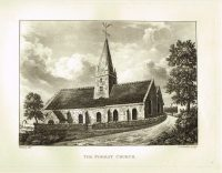 Old Antique Print The Forest Church Guernsey Channel Isles c.1815