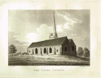Old Antique Print of Catel Church Guernsey Channel Isles c.1815
