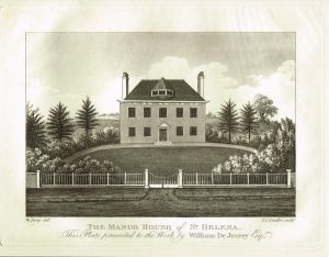 Old Antique Print Manor House St Helena Guernsey Channel Isles