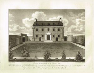 Old Antique Print Government House Residence Sir John Doyle Guernsey Channel Isles c.1815