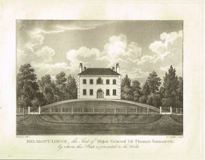Old Antique Print Belmont Lodge Guernsey Channel Isles c.1815