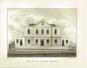 Old Antique Print Royal Court House Guernsey Channel Isles c.1815
